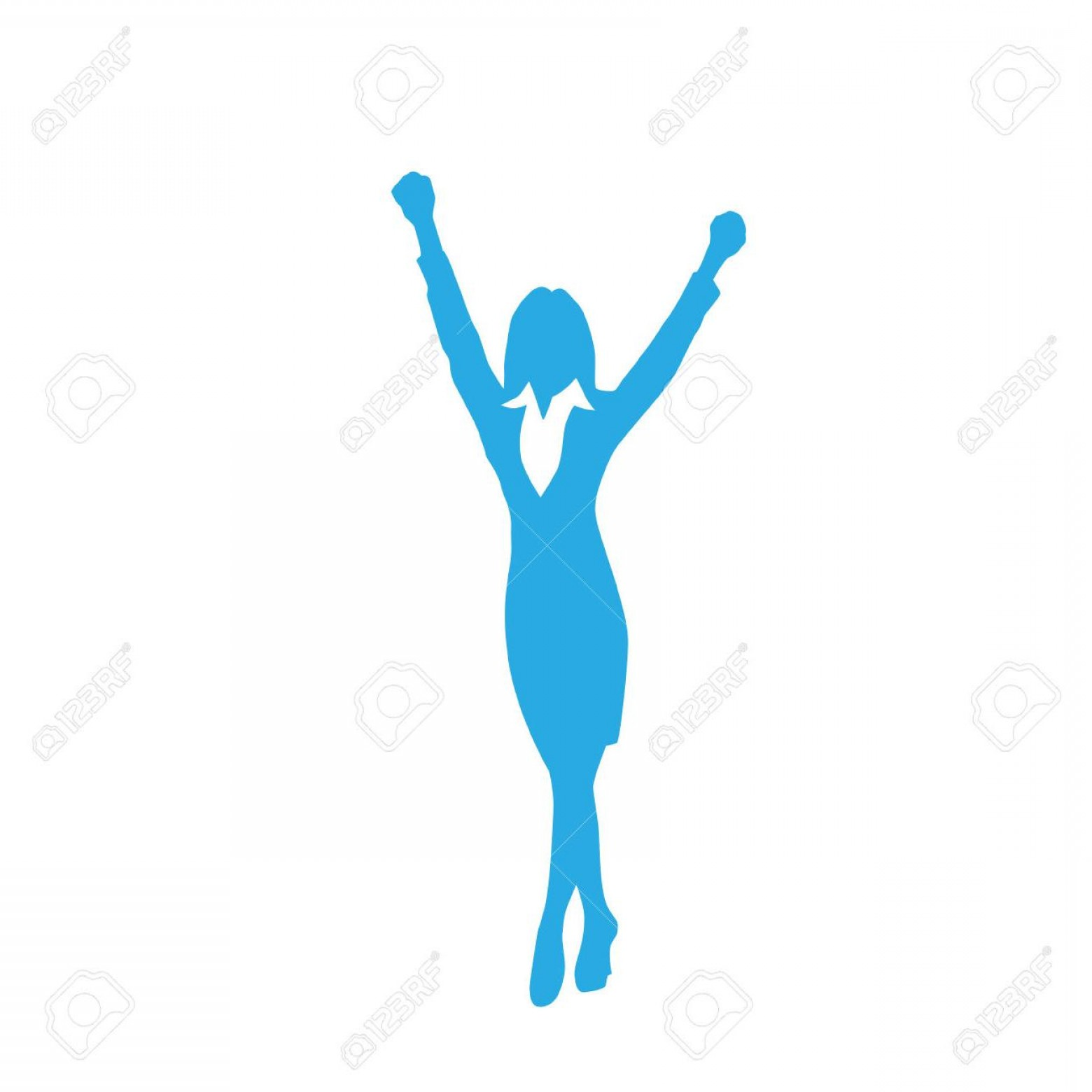 Holding Hands Up Silhouette Vector: Unique Business Woman Silhouette Excited Hold Hands Up Stock Vector Pictures