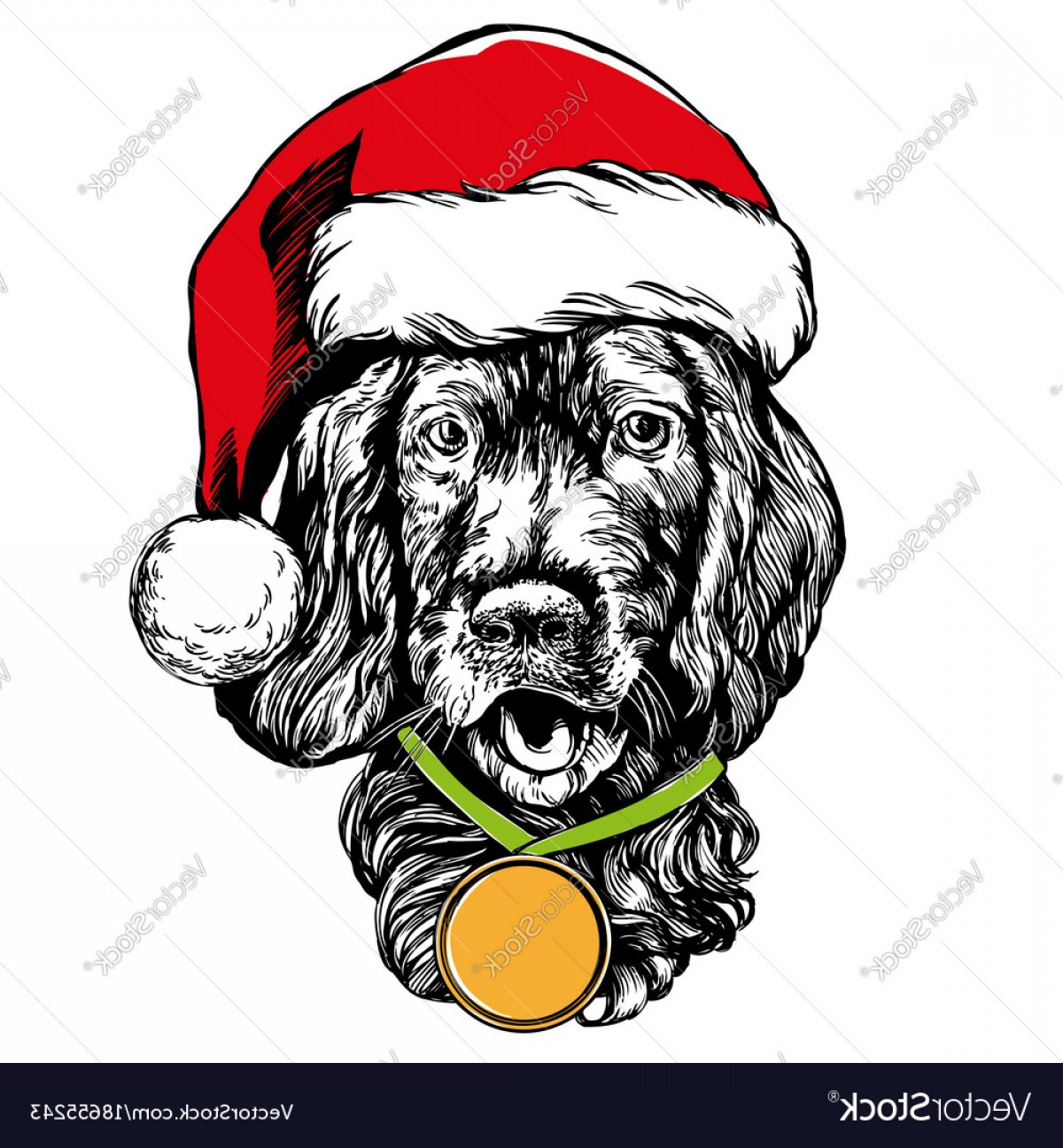 Stocking Hat Vector: Unique Dog In Santa Stocking Hat Santa Claus Christmas Vector