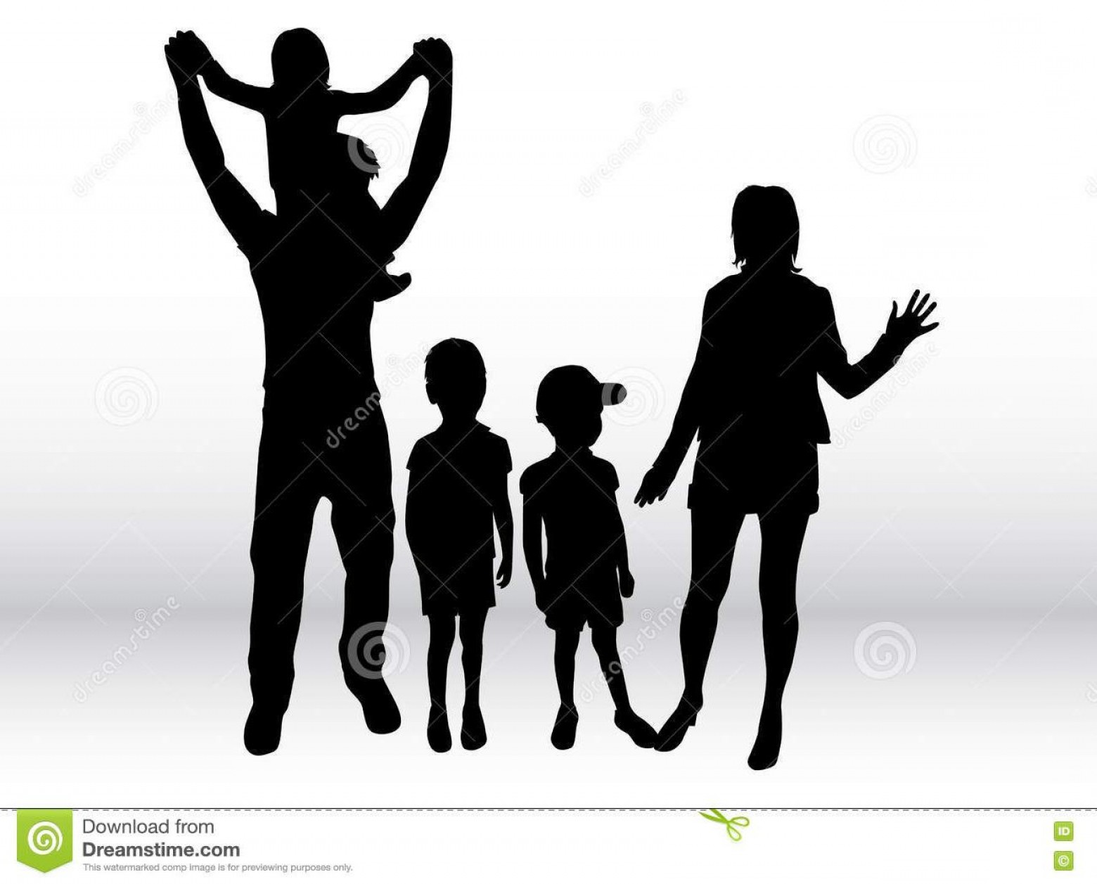 Family Silhouette Vector Art: Unique Family Silhouette People Vector Library