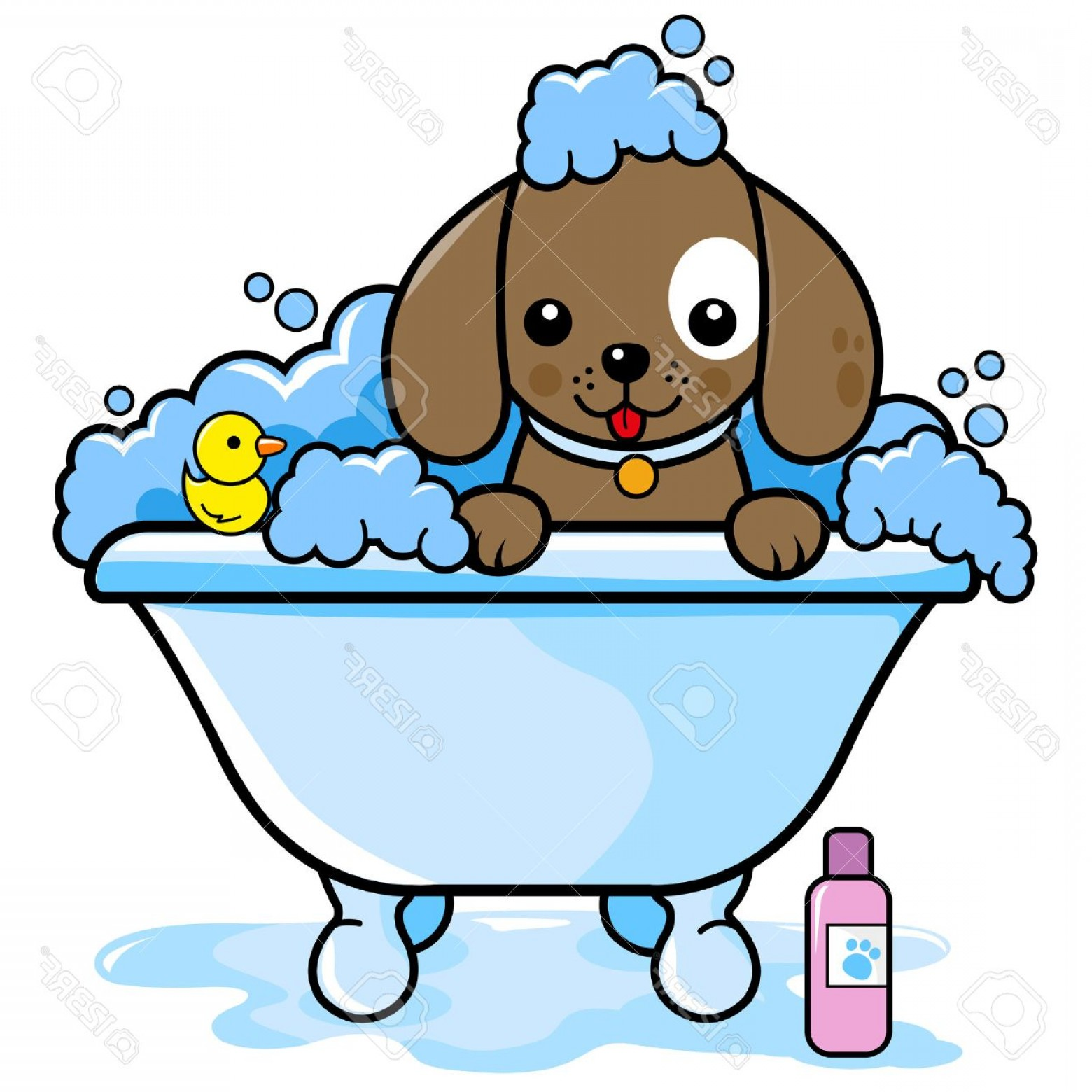 Dog Bubble Bath Vector: Unique Photostock Vector Dog In A Tub Taking A Bath