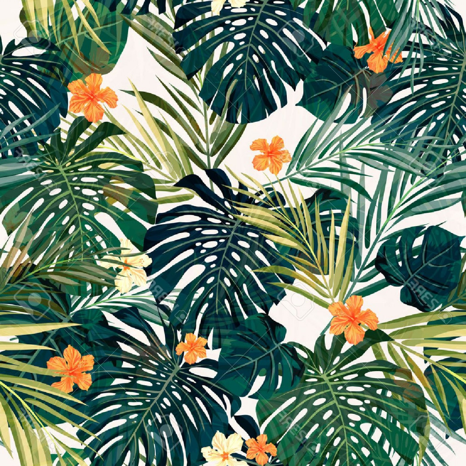 Hawaiian Flower Seamless Vector Pattern: Unique Photostock Vector Summer Colorful Hawaiian Seamless Pattern With Tropical Plants And Hibiscus Flowers Vector Illustrat