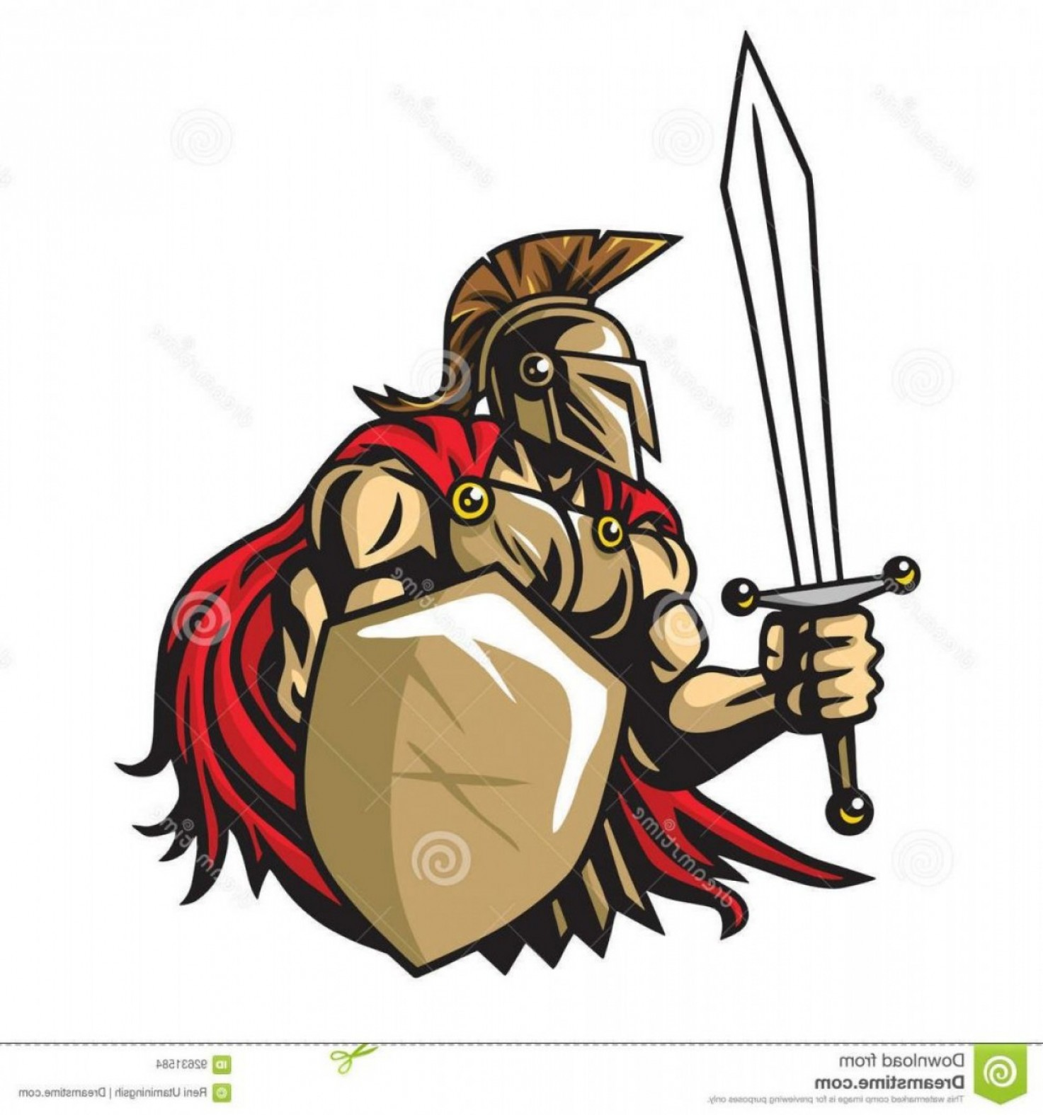 Warrior Vector Art: Unique Spartan Warrior Vector Mascot Logo Drawing Illustration Template File Free