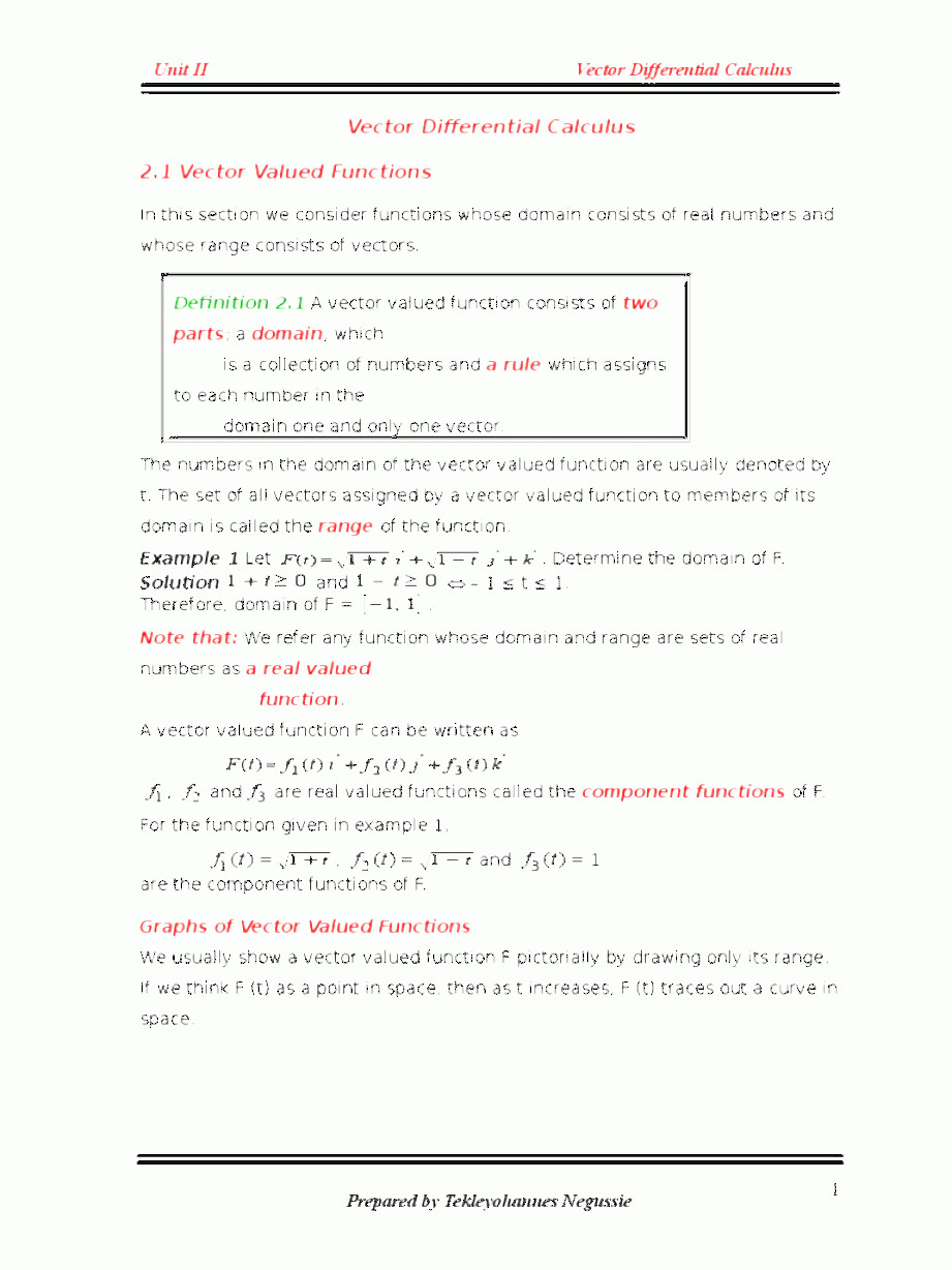 Vectors And Vector Valued Functions: Unit Ii Vector Differential Calculus Doc