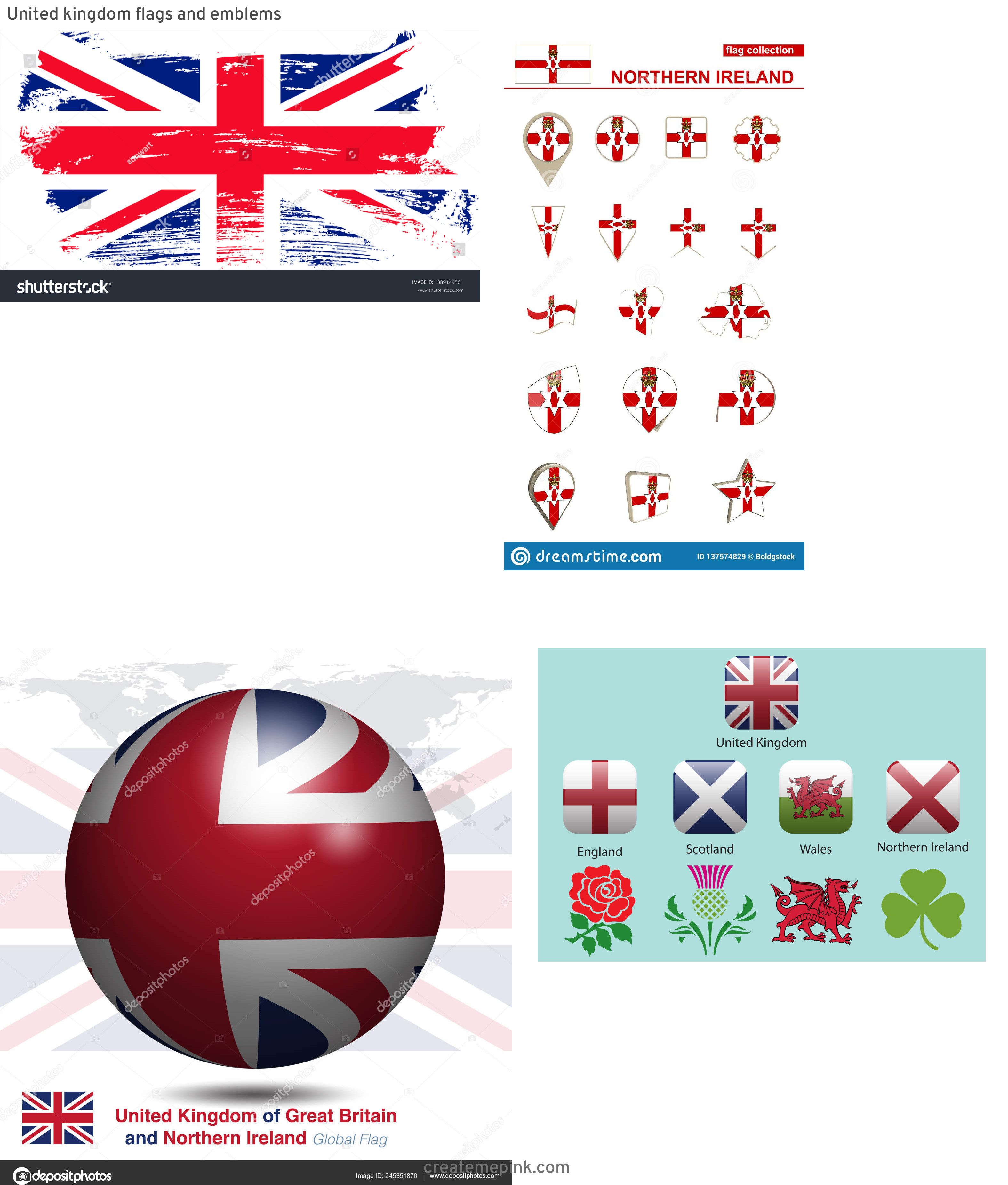 Northern Ireland Flag Vector: United Kingdom Flags And Emblems