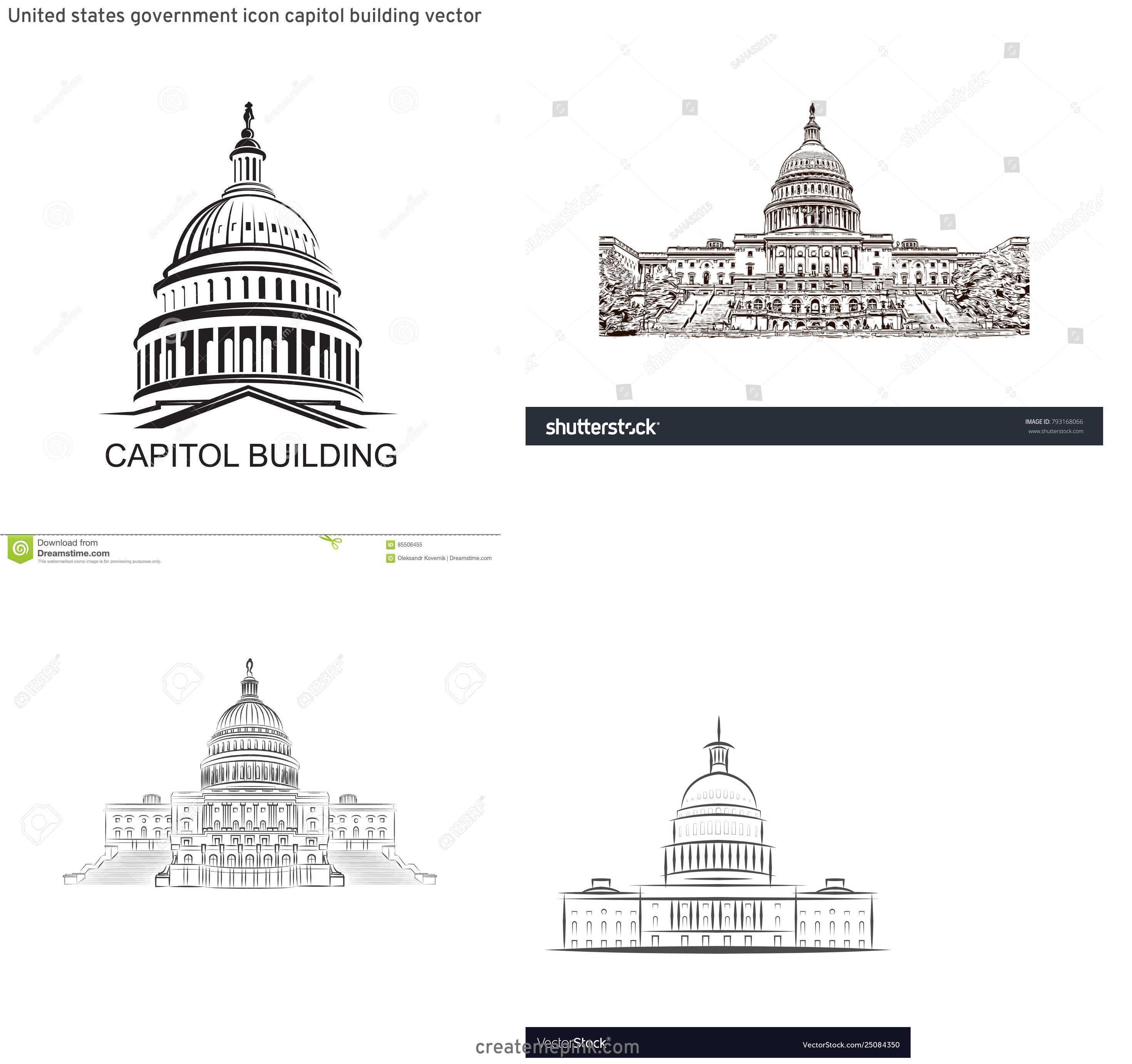 US Capital Vector Line Drawing: United States Government Icon Capitol Building Vector