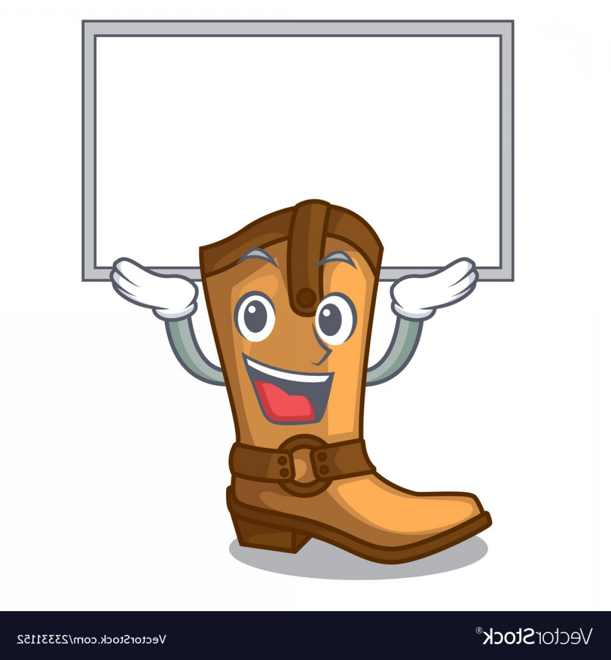 Two Cowgirl Boots Vector: Up Board Cowboy Boots In The Shape Cartoon Vector