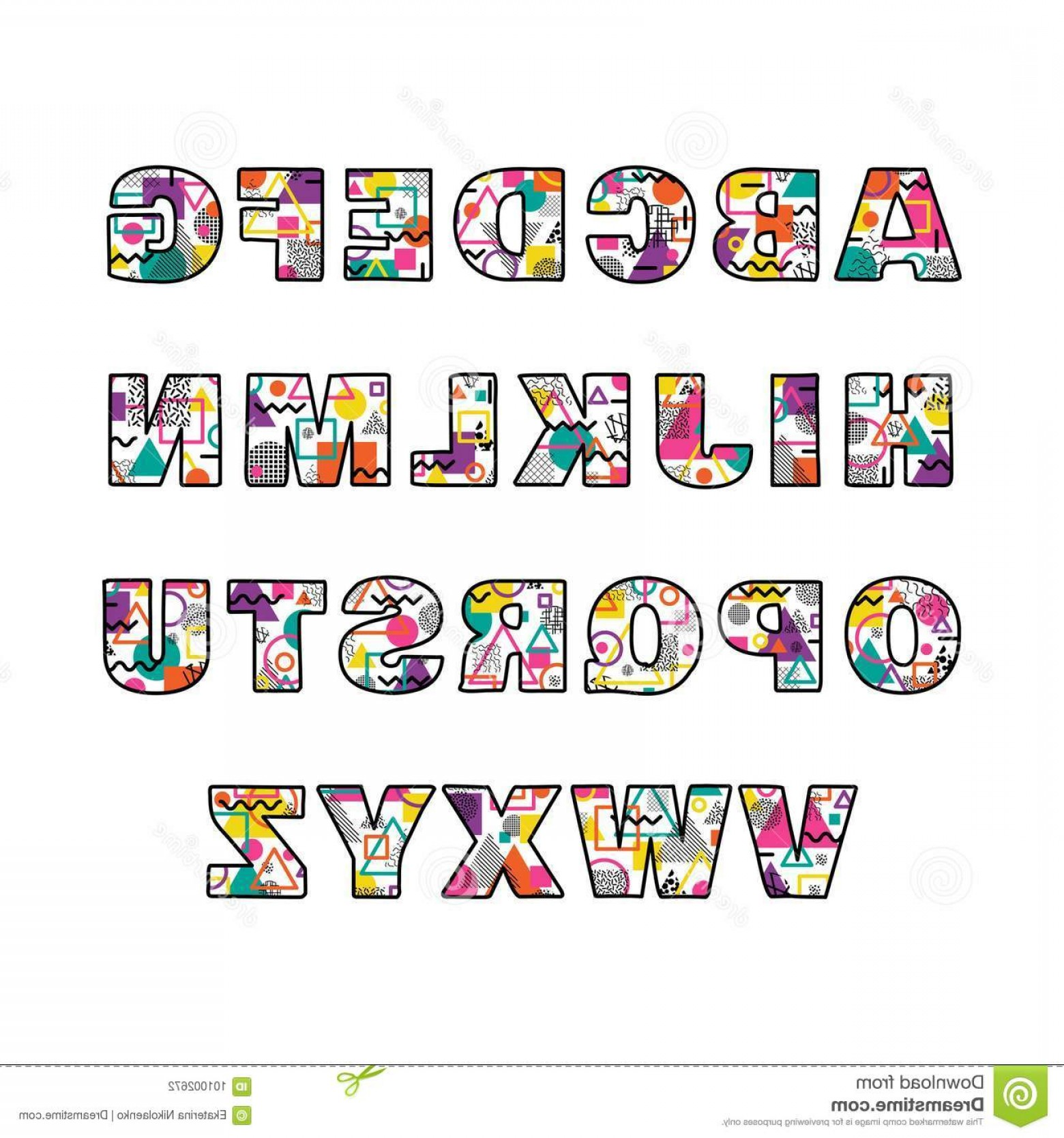 Decorative Font Vector Illustration: Uppercase Alphabet Memphis Style Colorful Decorative Geometric Font Vector Illustration Image