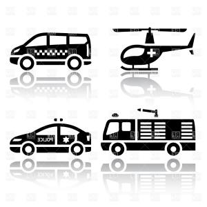 Fire Truck Vector Art: Urban Services Transport Icons Fire Truck Helicopter Minibus And Taxi Vector Clipart