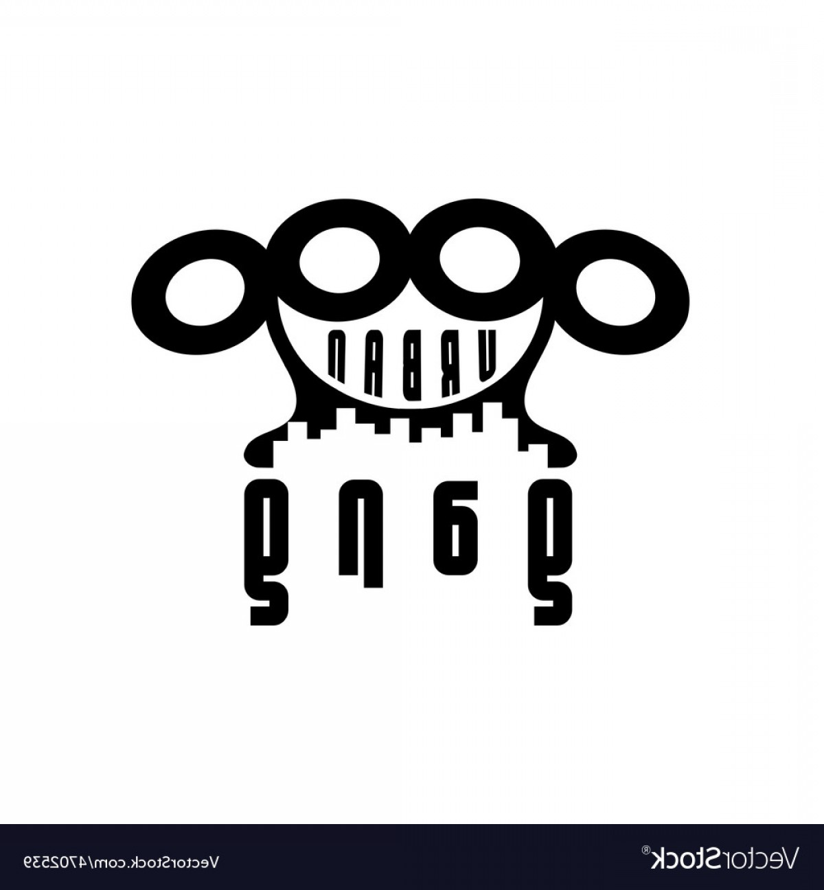 Gang Vector Graphics: Urban Gang Emblem With Brass Knuckles Vector