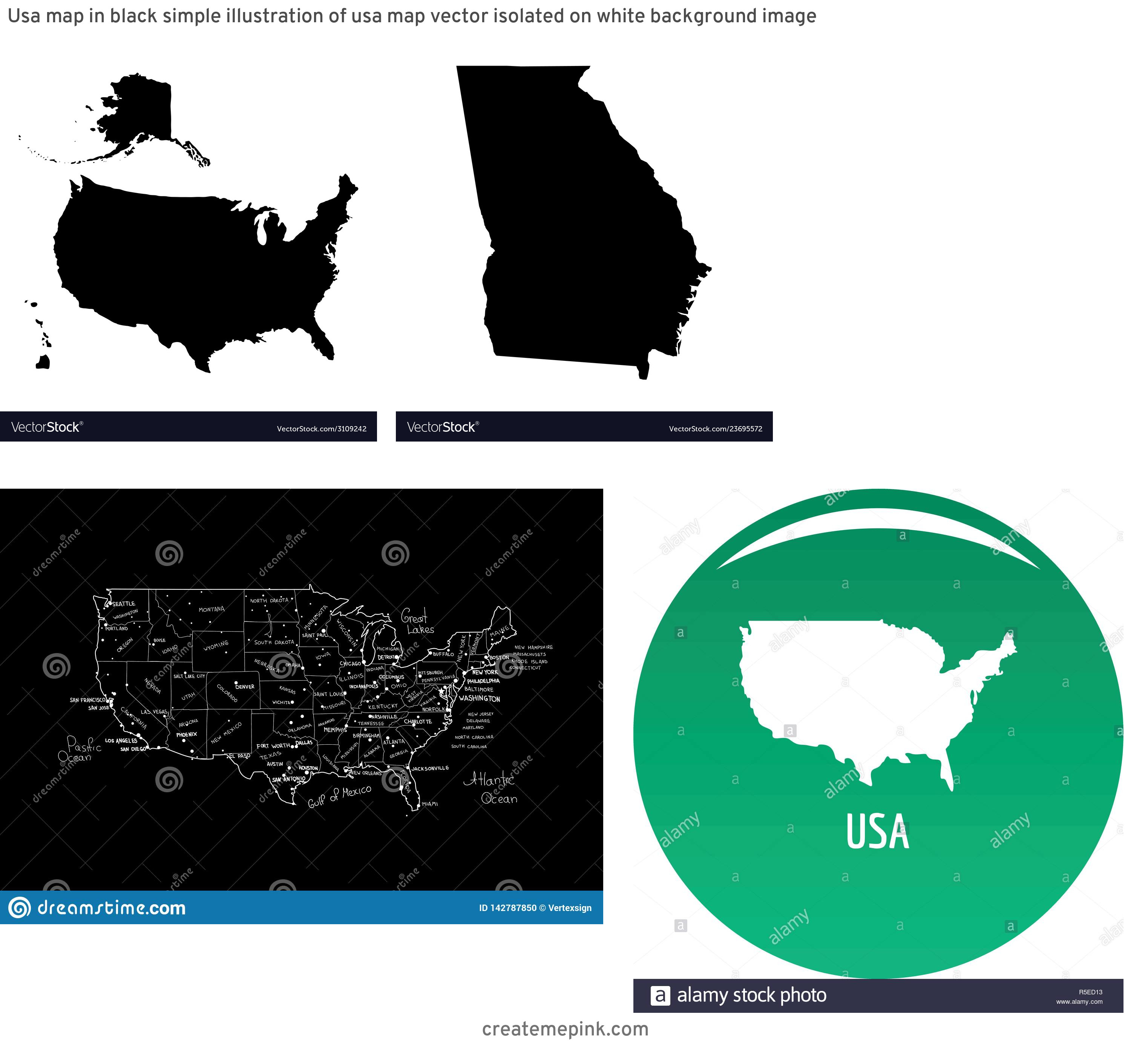 USA Map Vector Black: Usa Map In Black Simple Illustration Of Usa Map Vector Isolated On White Background Image
