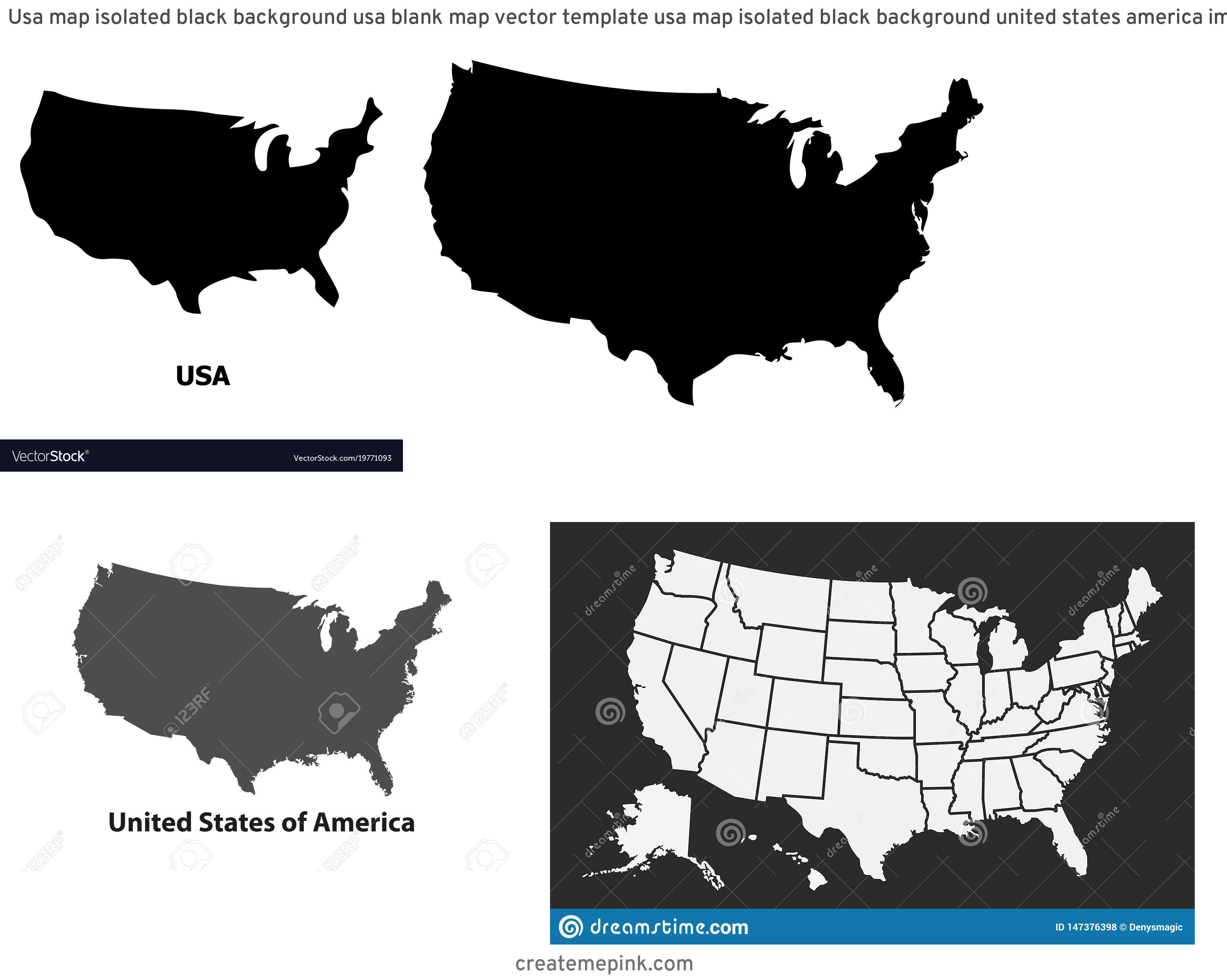 USA Map Vector Black: Usa Map Isolated Black Background Usa Blank Map Vector Template Usa Map Isolated Black Background United States America Image