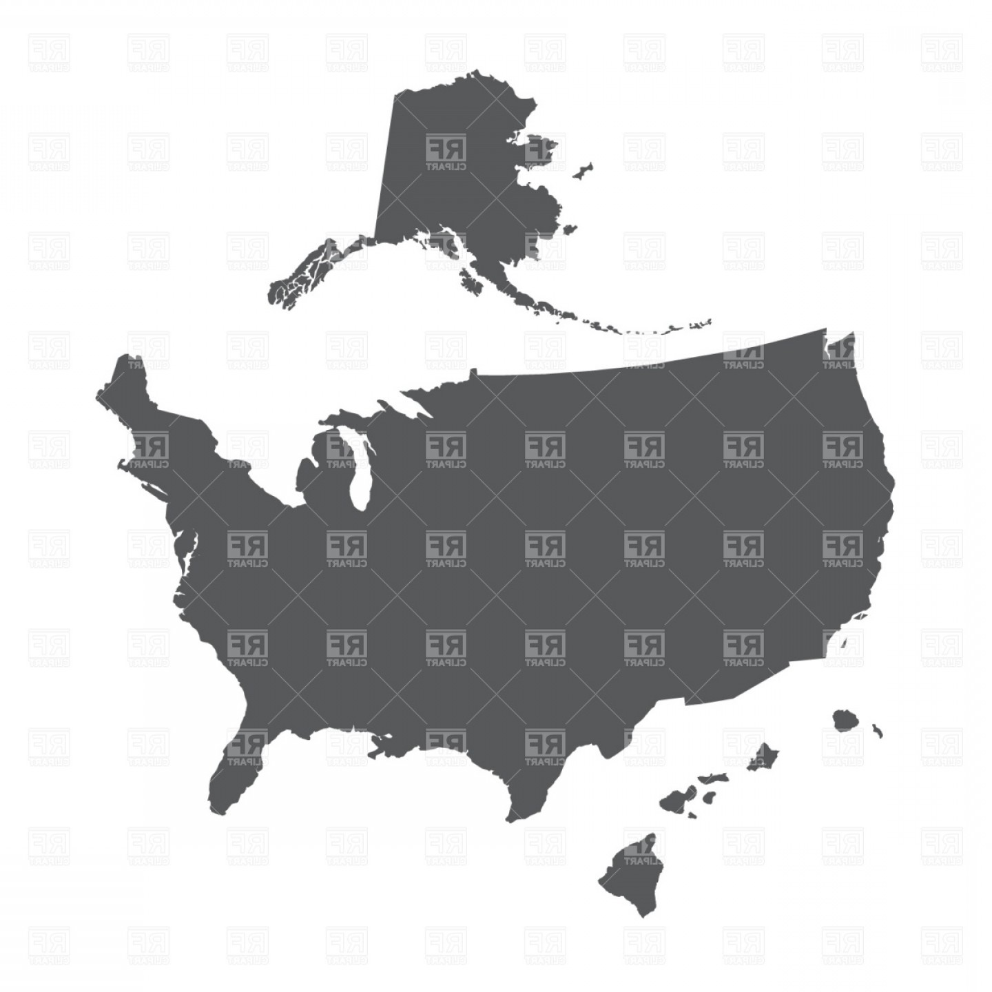Usa Map Outline With Alaska And Hawaii Vector Clipart ...