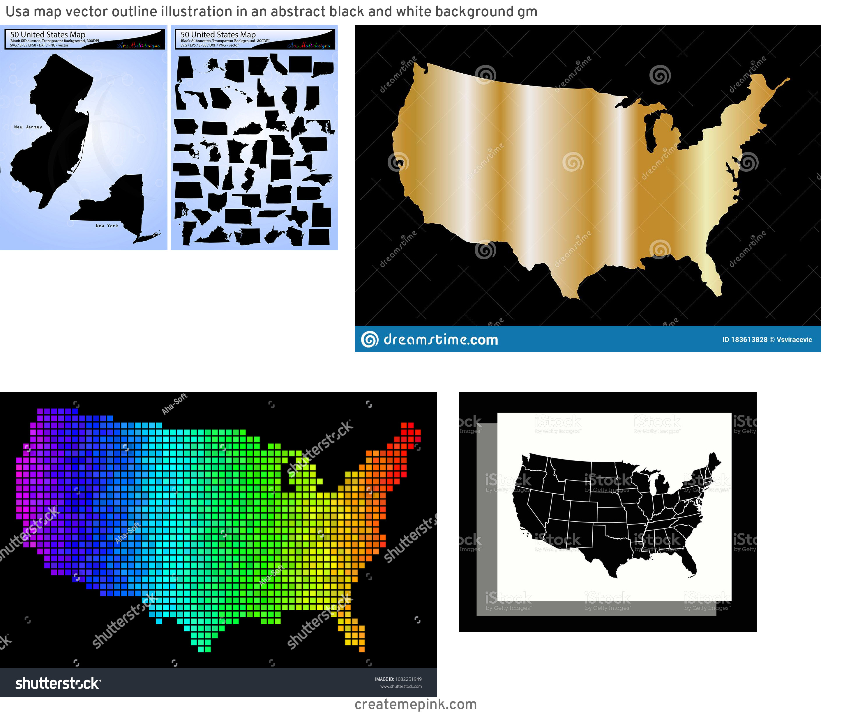 USA Map Vector Black: Usa Map Vector Outline Illustration In An Abstract Black And White Background Gm