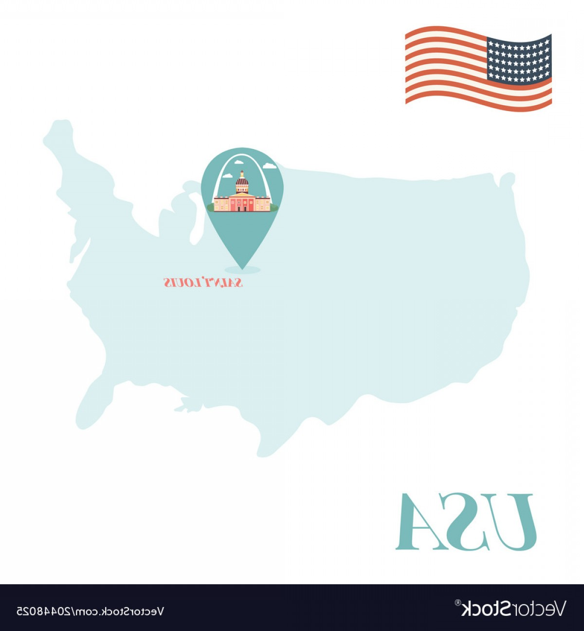 Vector Map Saint-Louis: Usa Map With Saint Louis Pin Travel Concept Vector