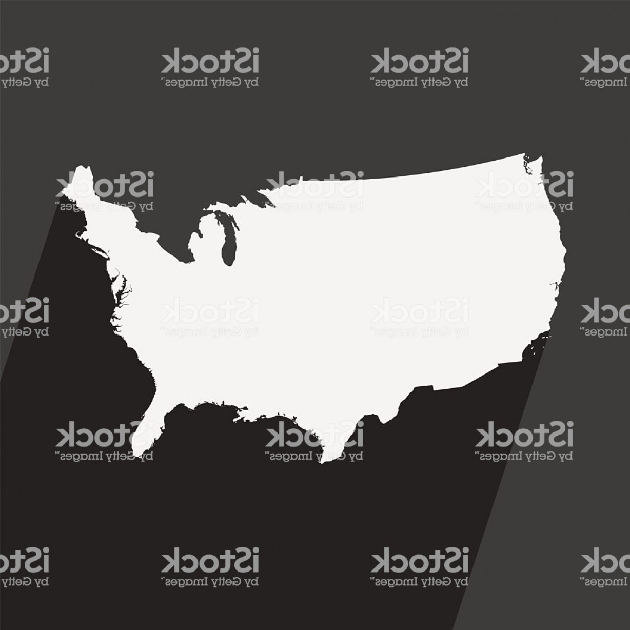 45 Pet Vector Map: Usa Map With Strong Shadow On Background Gm
