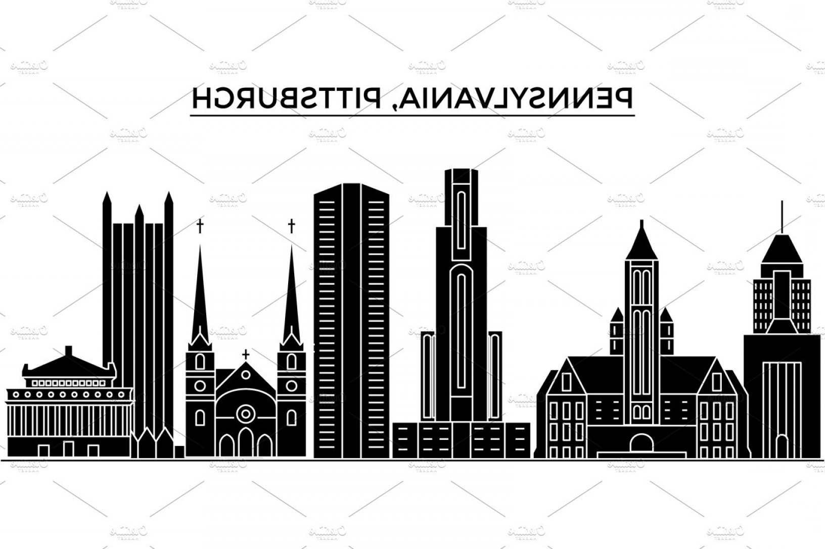 Pittsburgh City Skyline Vector: Usa Pennsylvania Pittsburgh Architecture Vector City Skyline Travel Cityscape With Landmarks Buildings Isolated Sights On Backgr