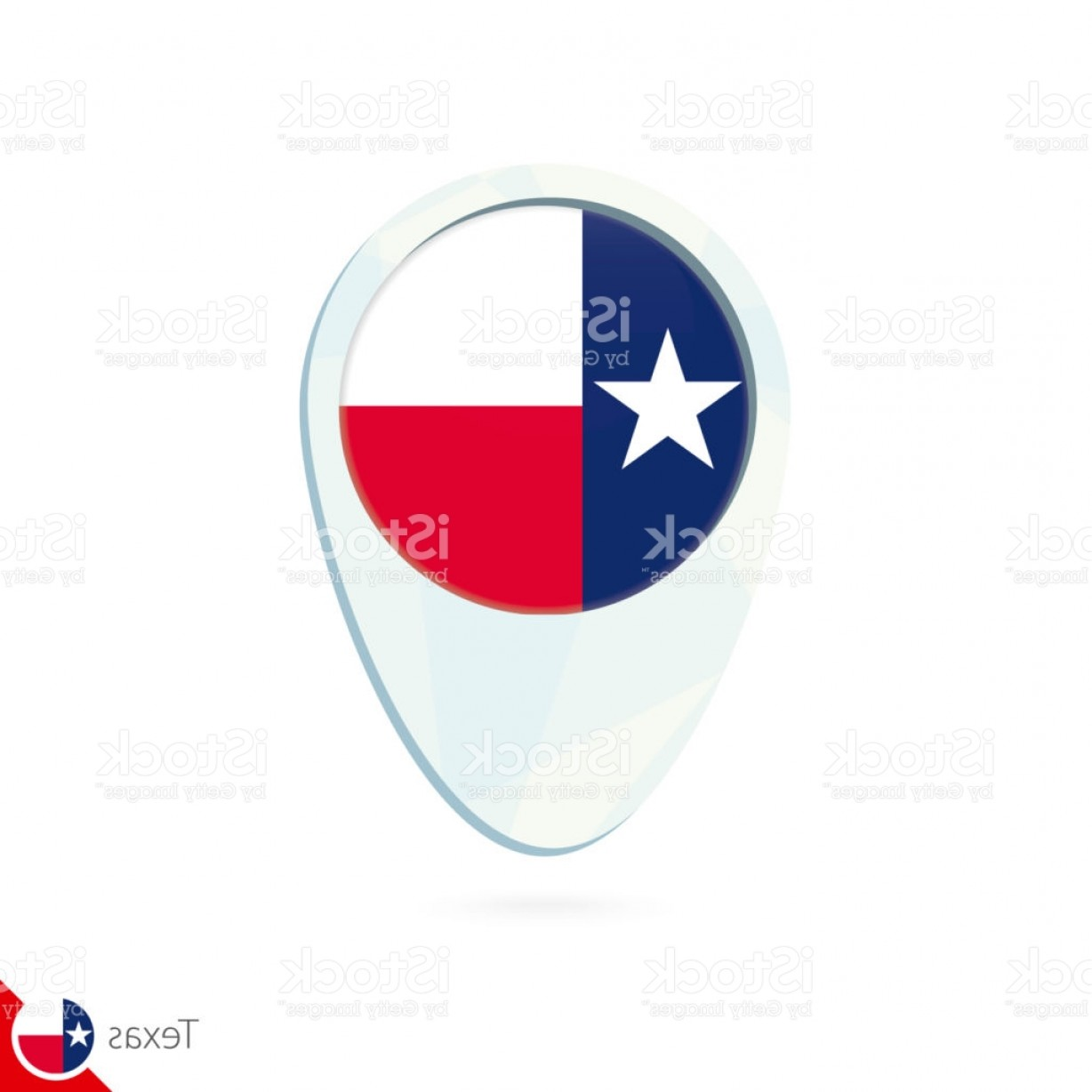 Texas Flag Vector Art: Usa State Texas Flag Location Map Pin Icon On White Background Gm