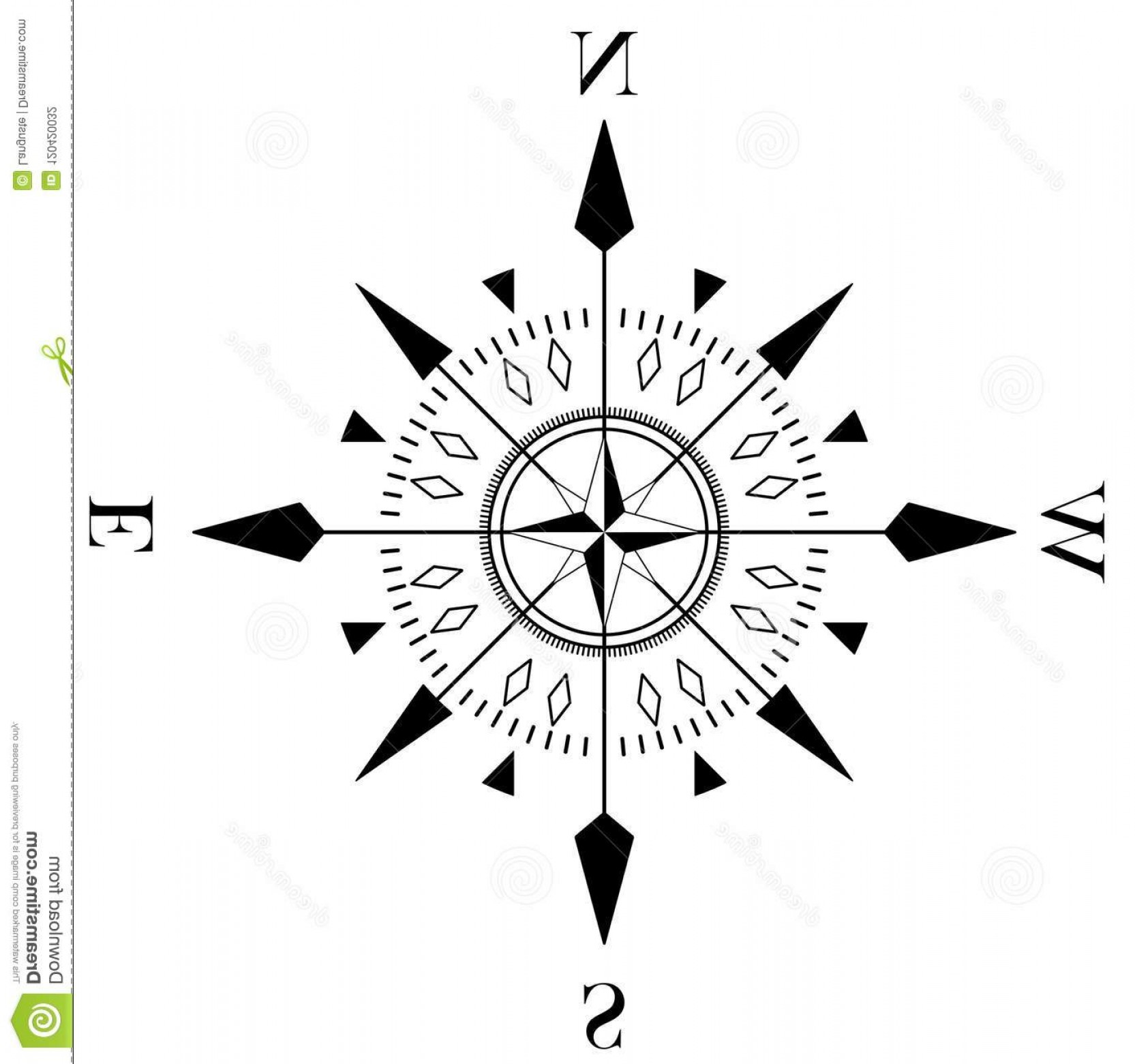 Mandala Vector Simple Compass: Usable As Marine Nautical Navigation Symbol All Related Wind Directions Compass Rose Vector Isolated White Image