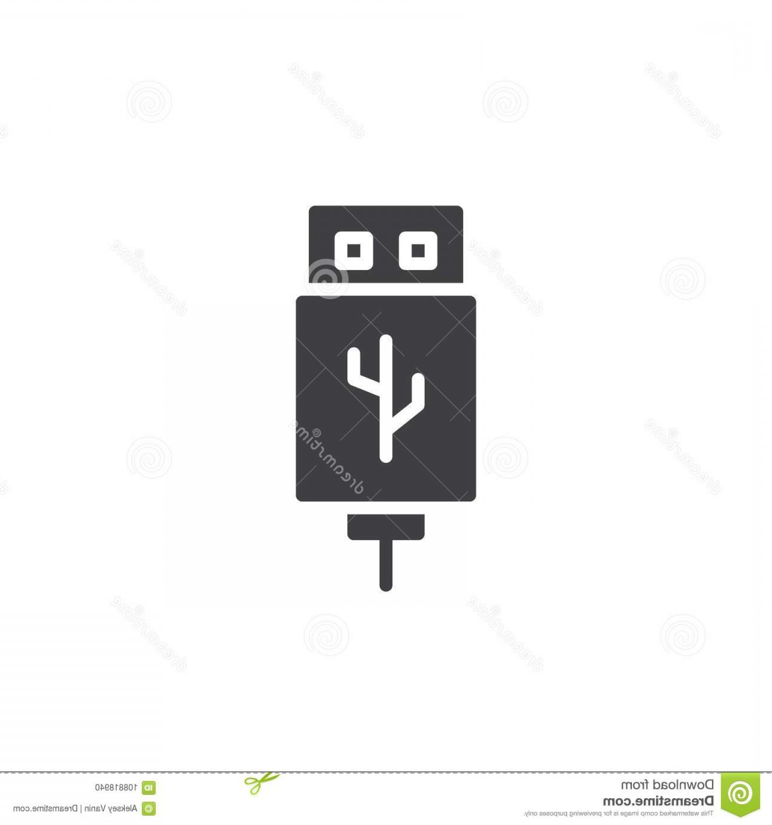 USB Icon Vector: Usb Cable Connector Cord Icon Vector Usb Cable Connector Cord Icon Vector Filled Flat Sign Solid Pictogram Isolated White Image