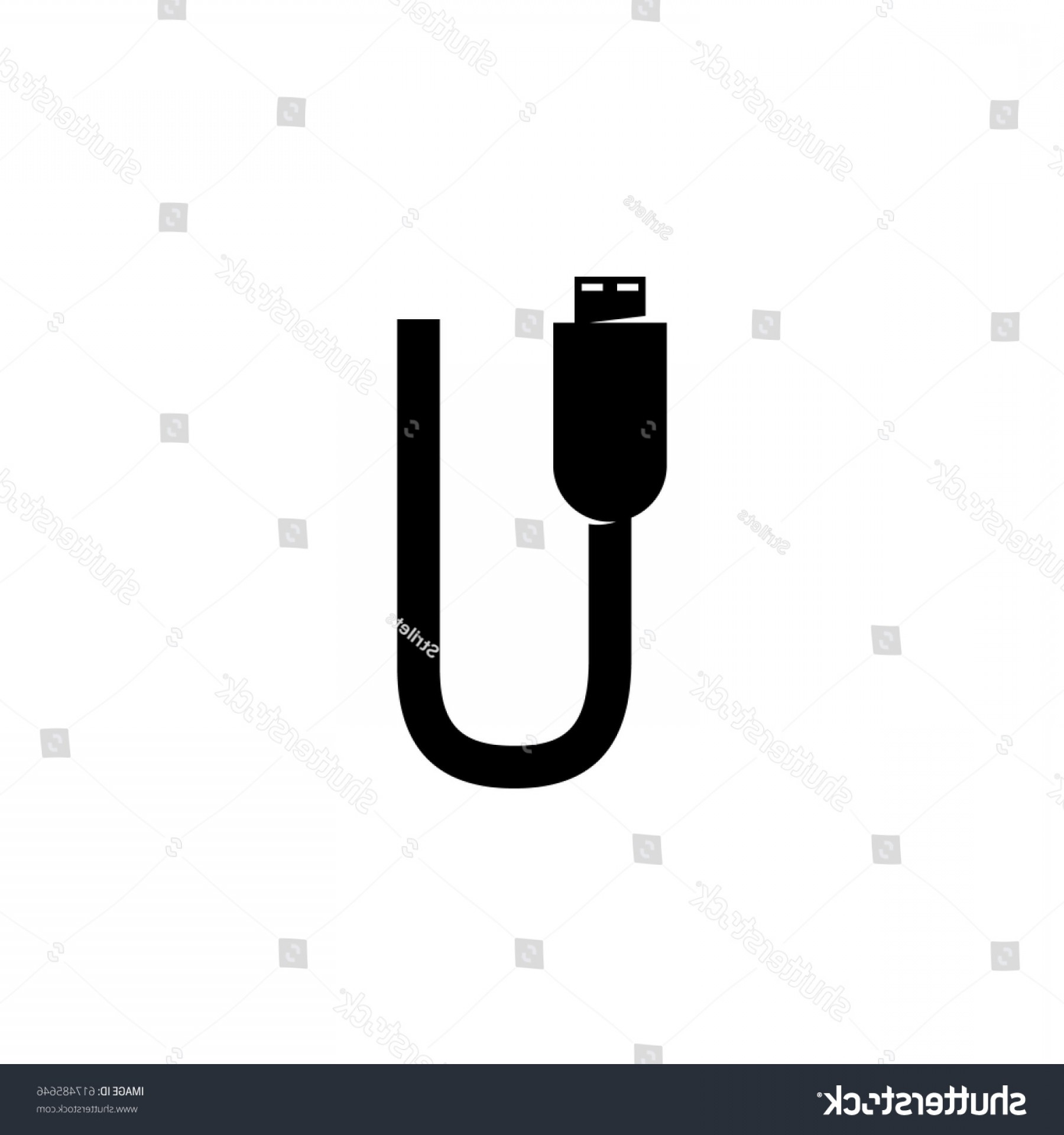 USB Icon Vector: Usb Cable Vector Logo Illustration Isolated