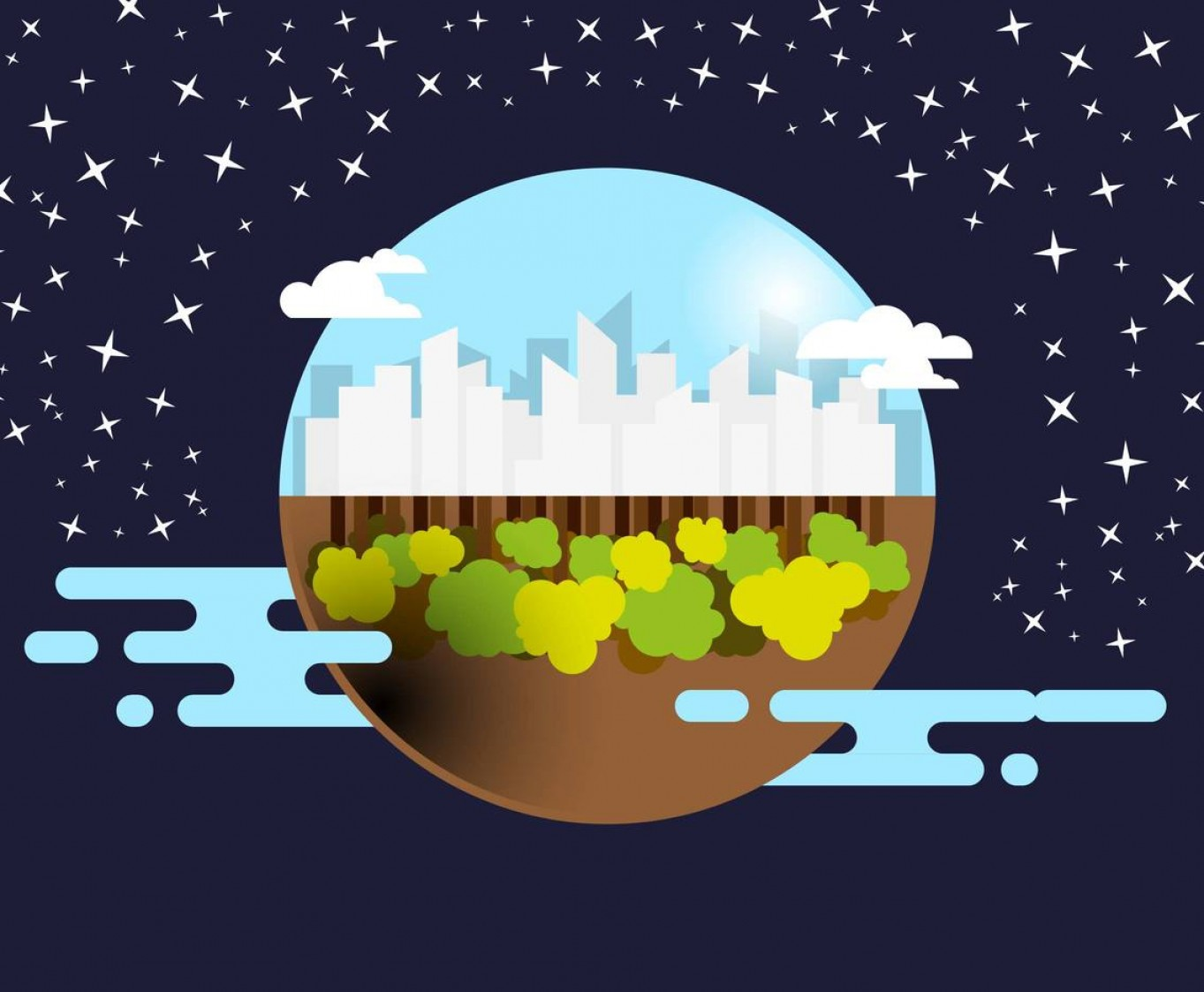 Planets Vector Graphics: Utopia Landscape City Planet Vector