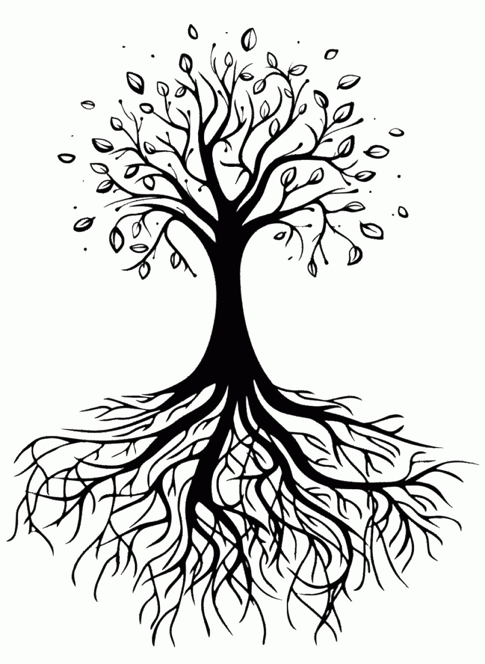 Vector Tree With Roots Drawing: Utrrqyuotransparent Tree Of Life With Roots Tree Roots