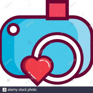 Camera Heart Clip Art Vector: Valentines Day Camera Photographic With Heart Line And Fill Style Image