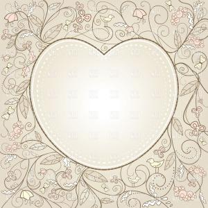 Vector Ornate Shaped Frame: Valentines Day Card With Heart Shaped Frame On Ornate Curly Background Vector Clipart