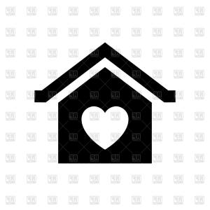 Heart Vector Graphics: Valentines Day Sign Home With Heart Vector Clipart