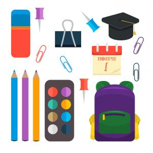 Individual School Supplies Vector: School Education Colorful Cartoon Icon Collection