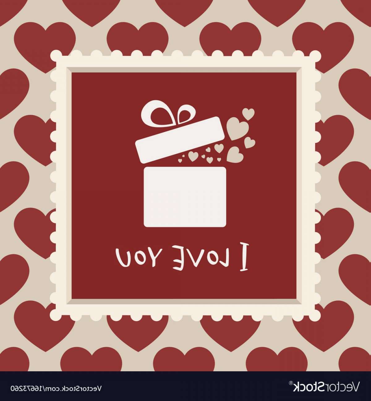 Vector Frame Gift: Valentines Card With A Gift In A Frame Vector