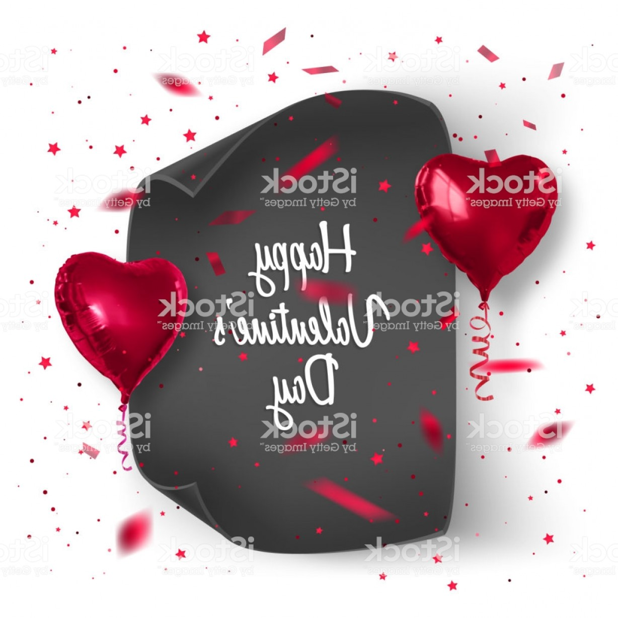 Balloons Vector Wallpaper: Valentines Day Card Background With Confetti And Realistic Balloons Vector Gm