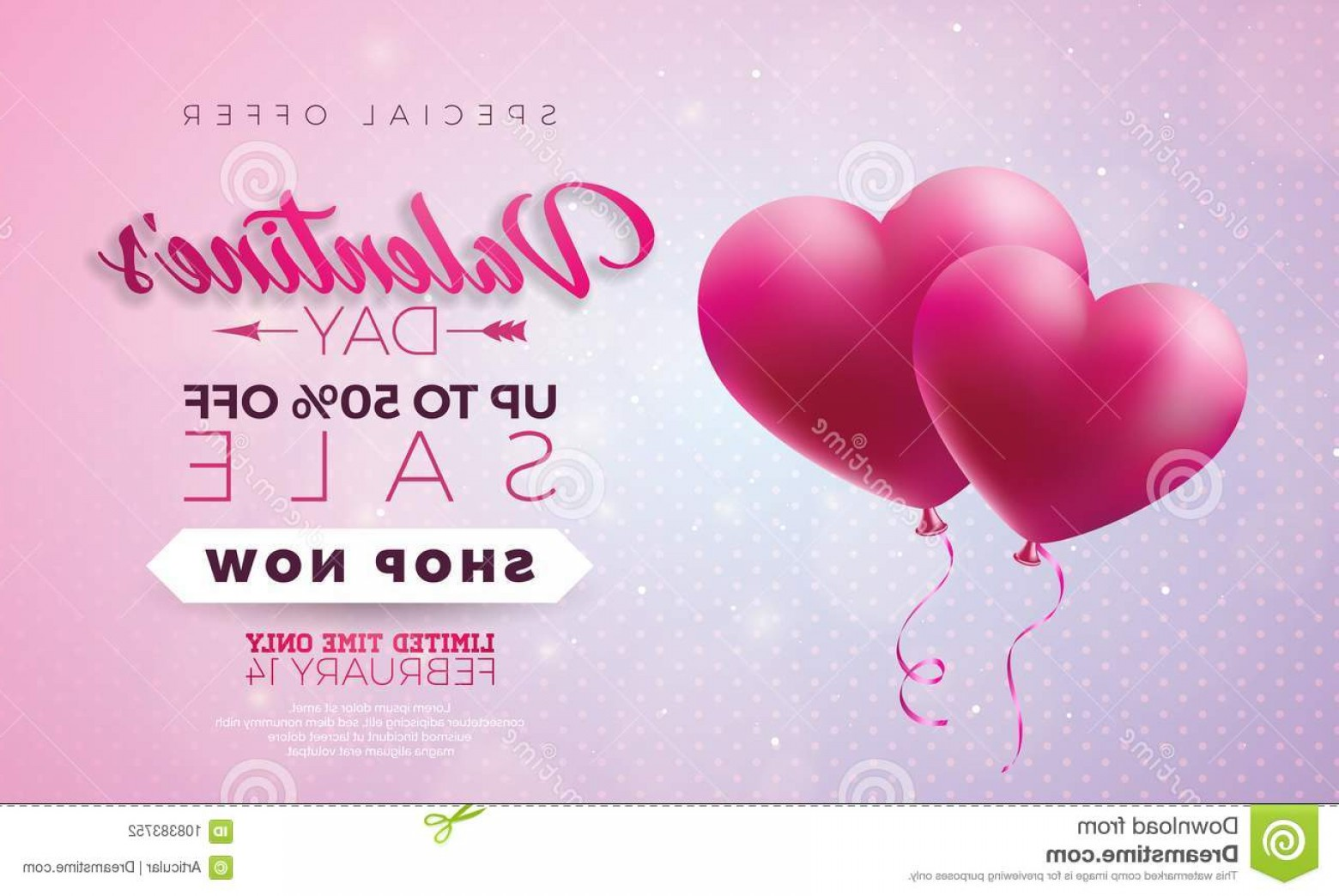 Vector Special Design: Valentines Day Sale Design Red Heart Balloon Pink Background Vector Special Offer Illustration Coupon Valentines Day Image