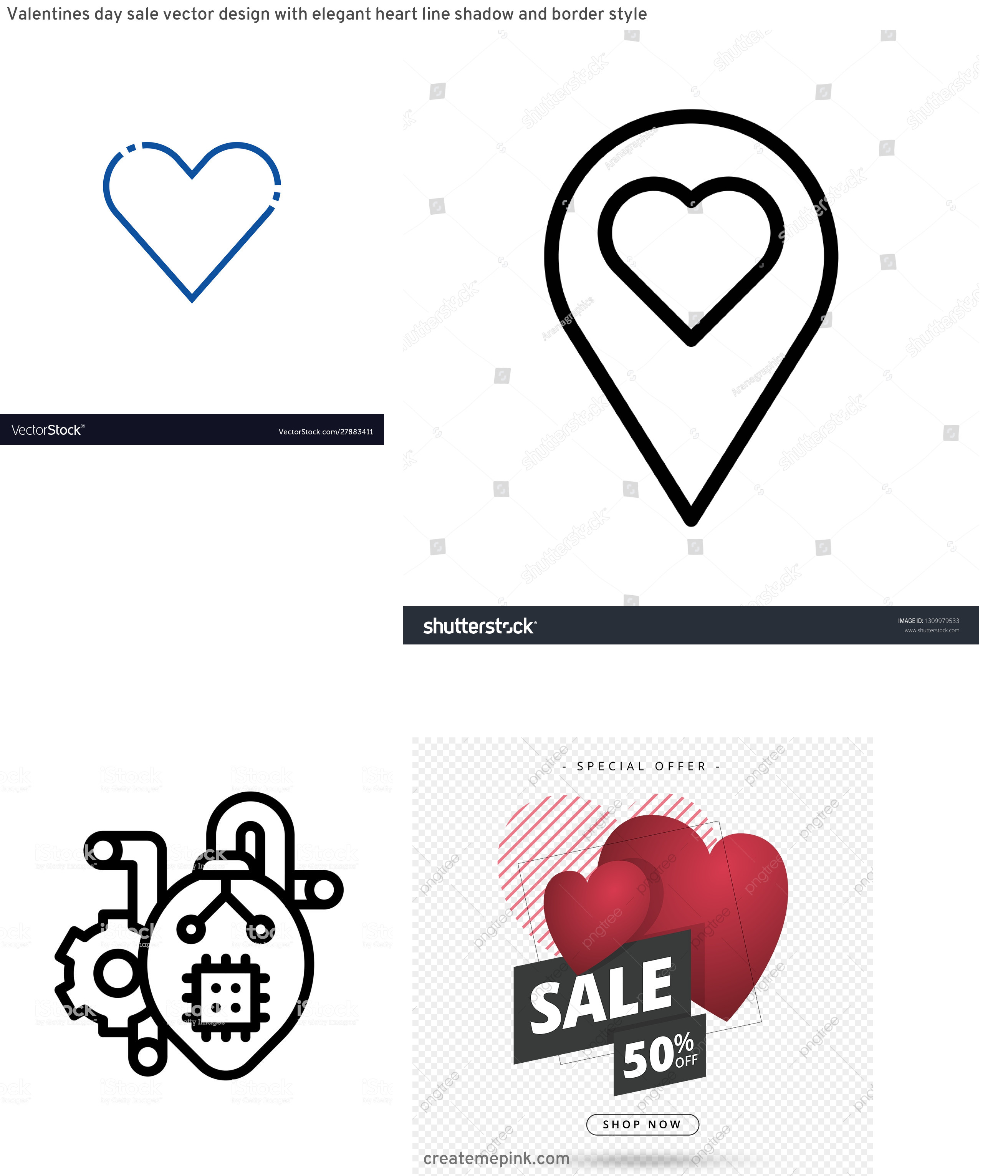 Heart Vector Line Designs: Valentines Day Sale Vector Design With Elegant Heart Line Shadow And Border Style
