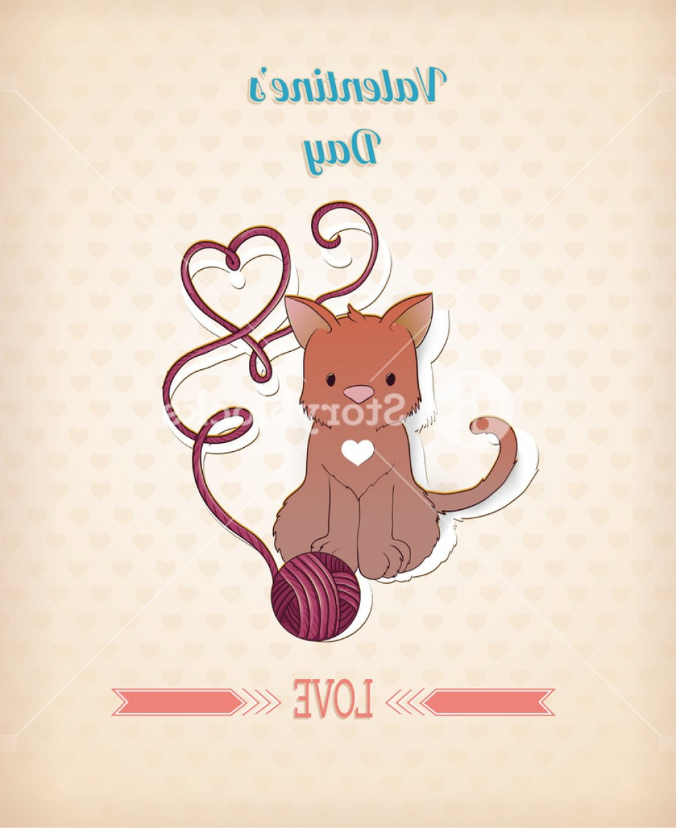 Love M J Vector: Valentines Day Vector Illustration With Little Cat Rslnvvxuzjglwvey