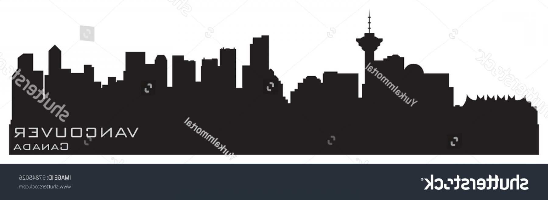 Vancouver Skyline Vector: Vancouver Canada Skyline Detailed Vector Silhouette