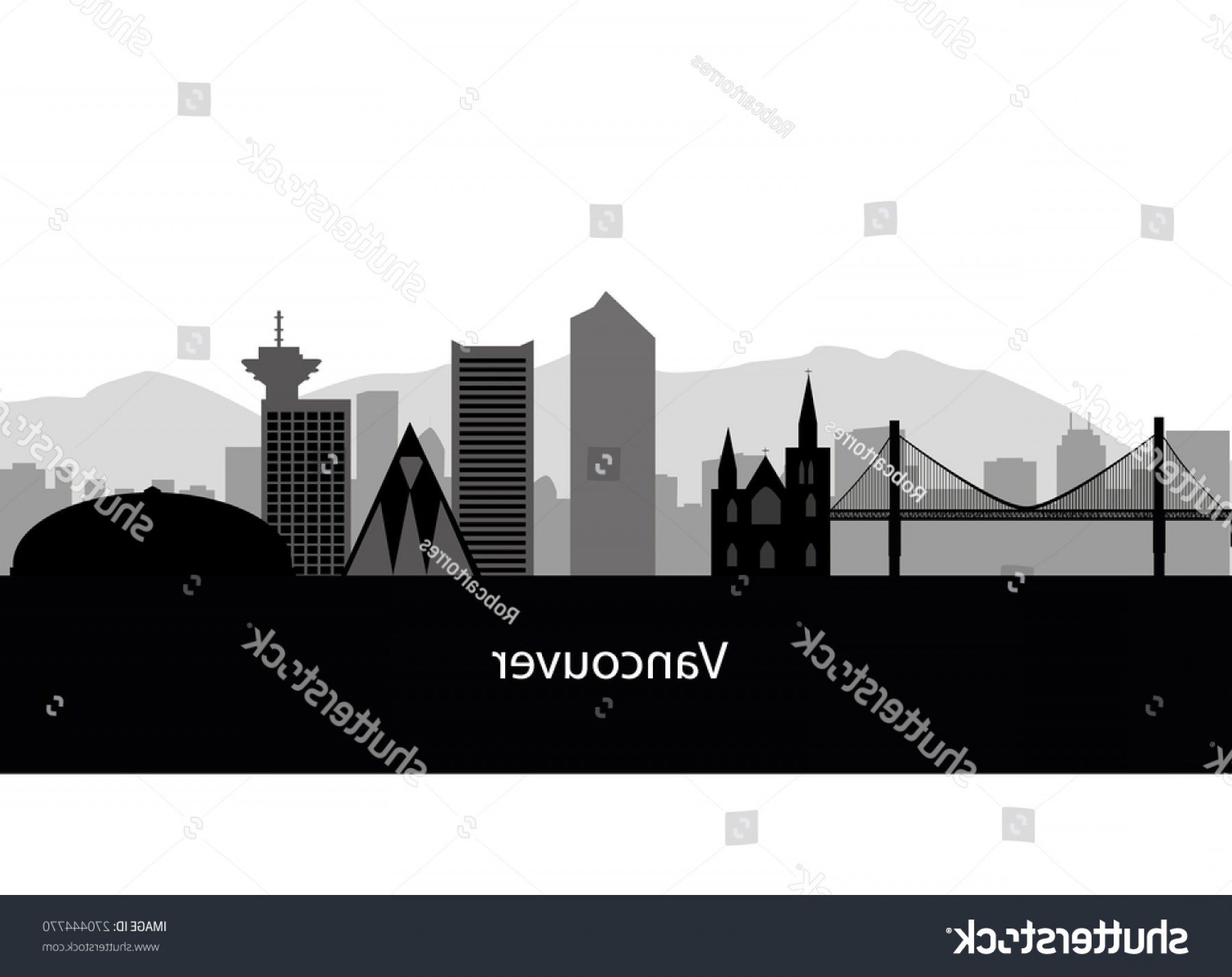 Vancouver Skyline Vector: Vancouver Skyline Black White Vector Illustration