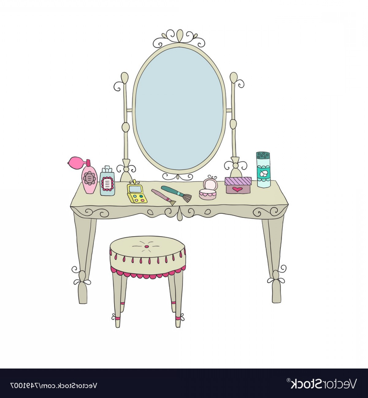 Vector Makeup Vanity Table: Vanity Table With Makeup And A Chair Vector