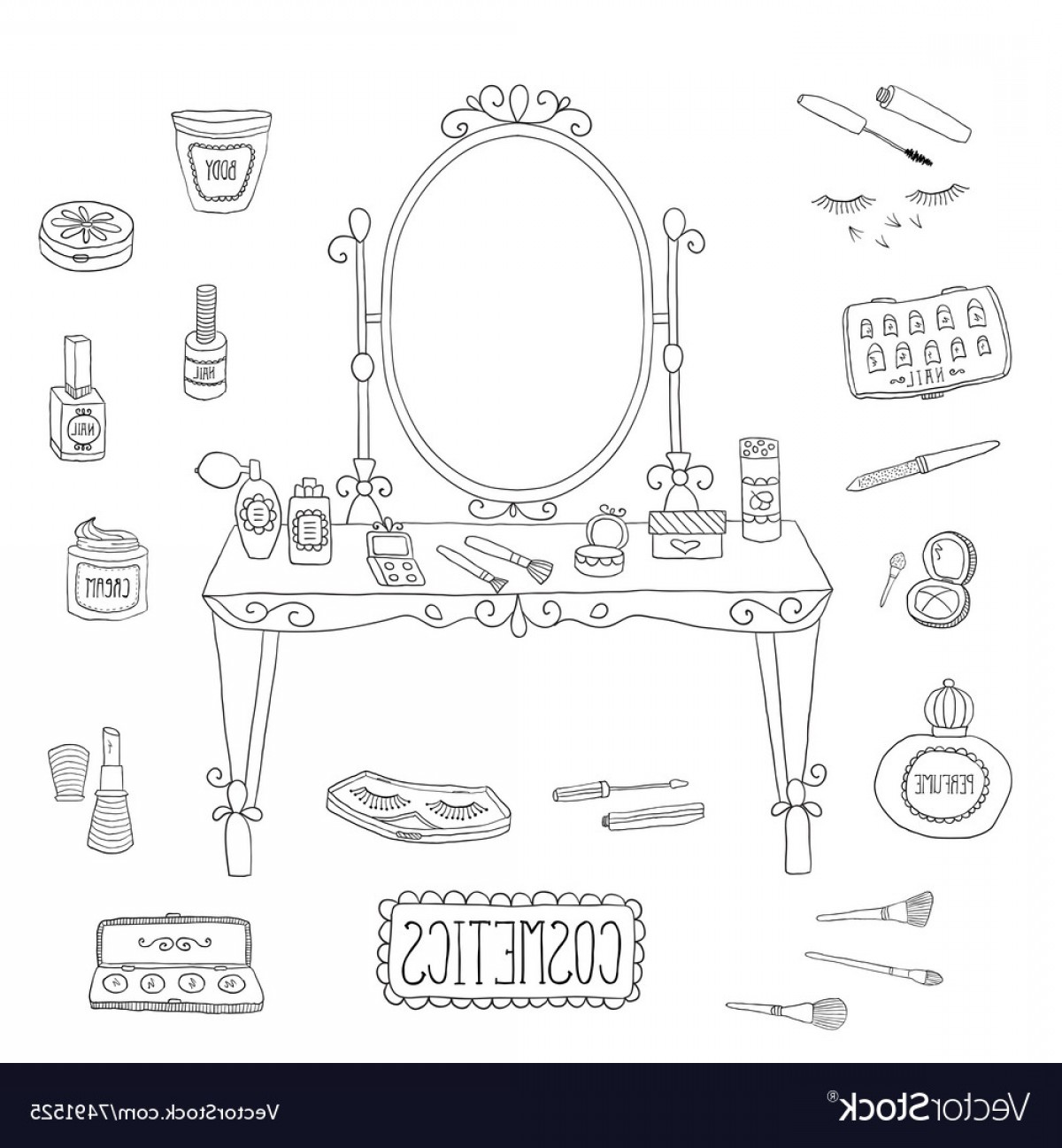 Vector Makeup Vanity Table: Vanity Table With Mirror And Makeup Vector