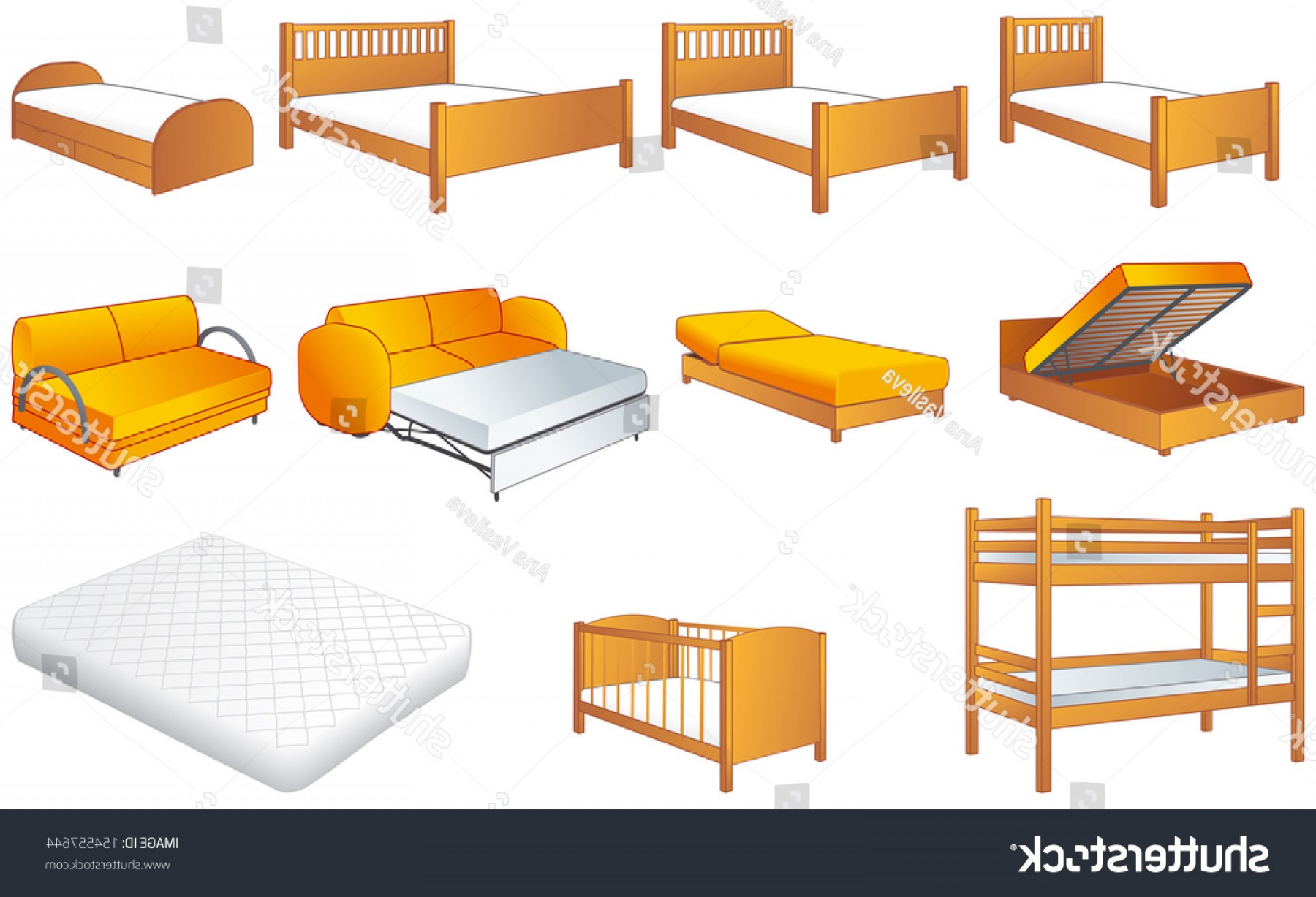 Back Of The Couch Vector: Various Bedroom Furniture Bed Cot Couch