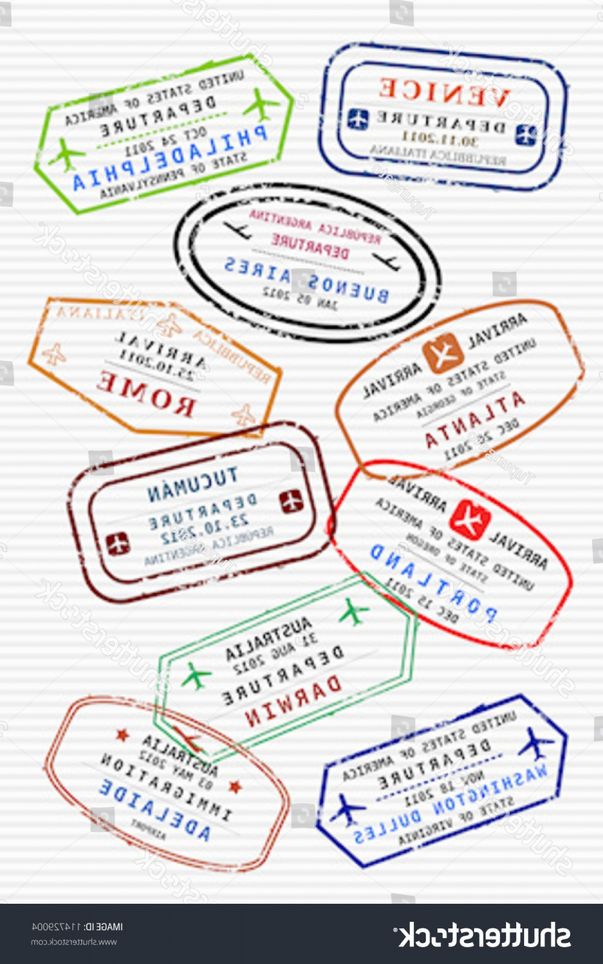 Vector Travel APS: Various Colorful Visa Stamps Not Real
