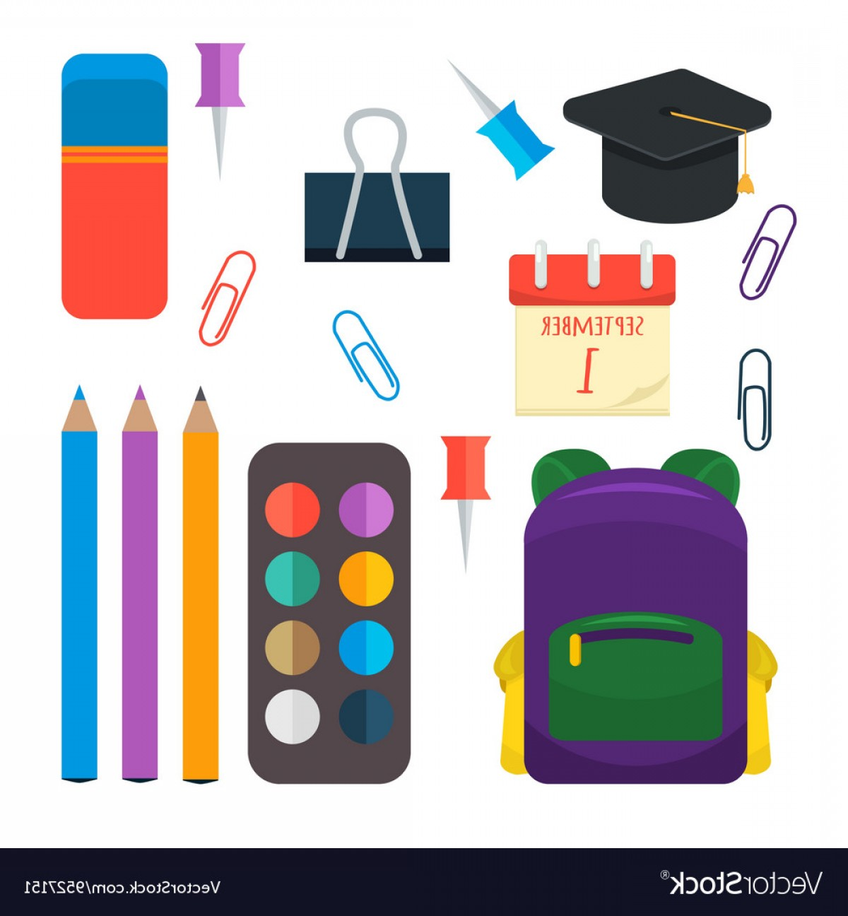 Individual School Supplies Vector: Various Individual School Supplies Set Vector