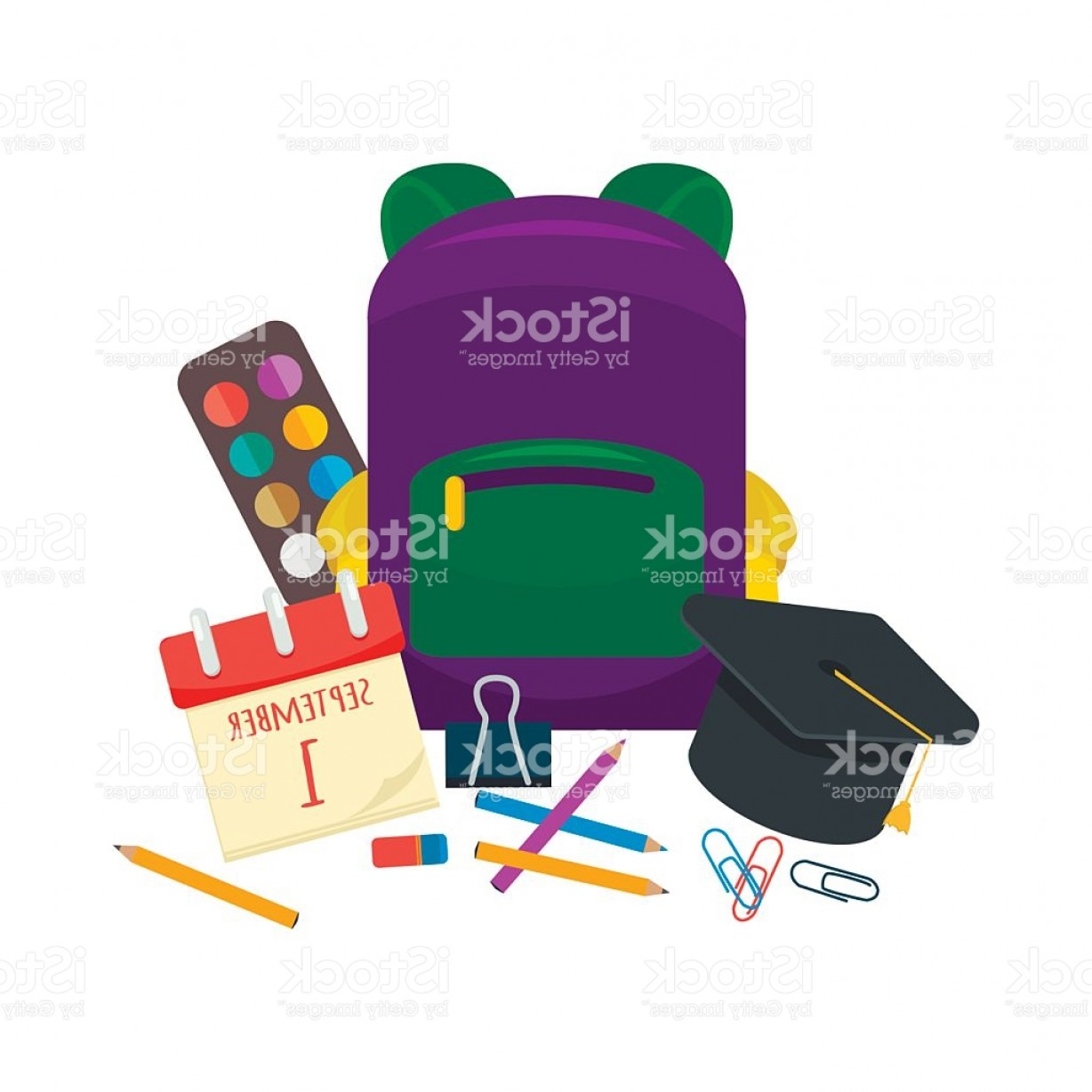 Individual School Supplies Vector: Various Individual School Supplies Vector Set Gm