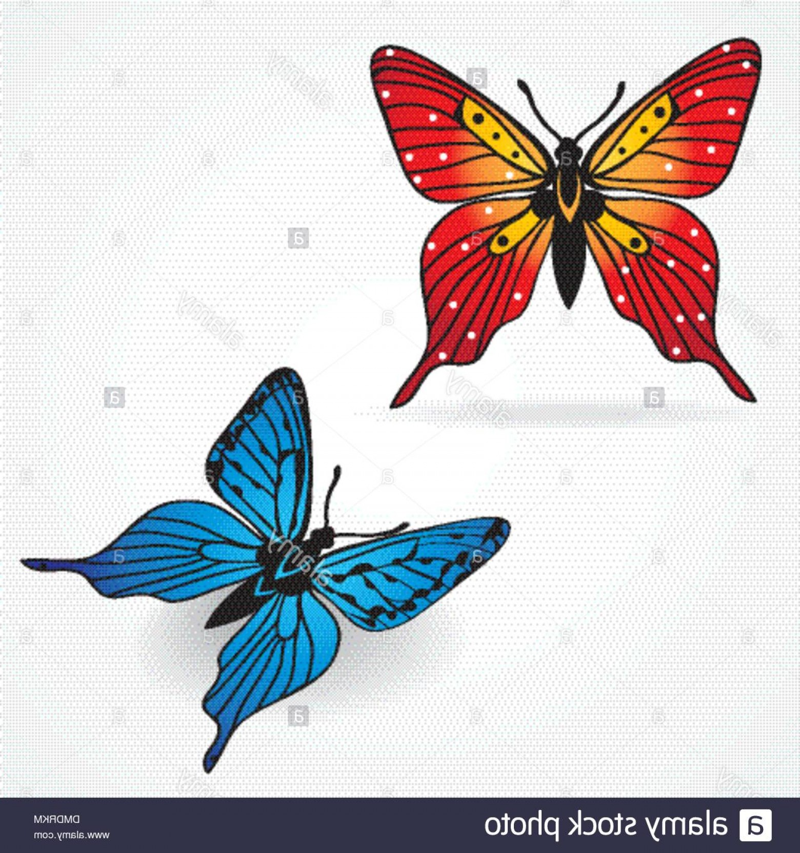 Vector Butterfly Clip Art: Various Vector Butterflies On Background Image