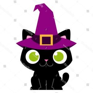 Witch Hat With Cat Vector: Vector Adorable Cartoon Cat Witch Hat