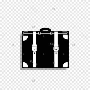 Vector Black And White Luggage: Vector Black And White Monochrome Silhouette Illustration Of Luggage Icon Isolated On Transparent Background Image