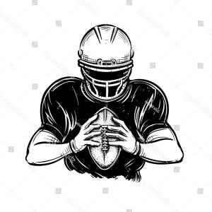 Black And White Vector American Football: Yard Line On American Football Field