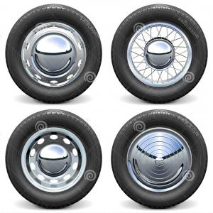 MB Wheels Vector Chrome: Stock Illustration Race Car Tire Chrome Rims Isolated White Background Image