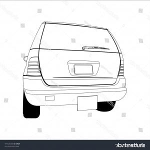 Bumper Barbell Vector: Vector Cartoon Car Monochrome Contours On