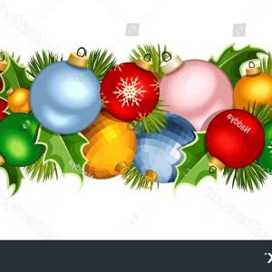 Christmas Horizontal Vector: Stock Illustration Vector Banners Red White Green Christmas Decorations Set Fir Branches Balls Holly Mistletoe Cones Image
